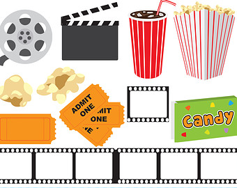 Movie Night digital clipart, theater clipart, at the movies clip art, movie clipart