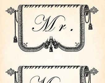 Mr Mrs Banner Wedding Marriage Vintage P-Mr Mrs Banner Wedding Marriage Vintage Printable Image INSTANT Download Digital Antique Clip Art Transfer Art Print jpg jpeg pdf png V48-8