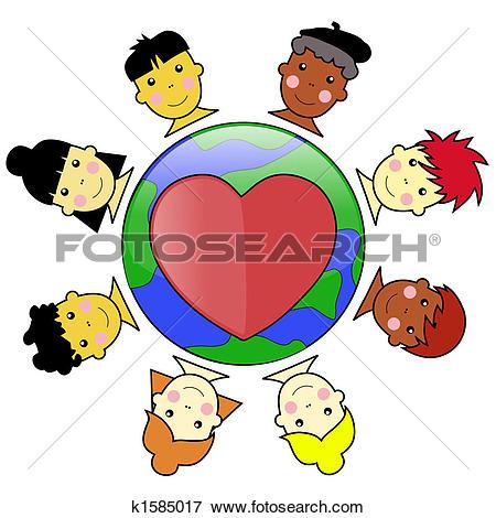 Multicultural Kid Faces United Around Earth Globe Illustration jpeg