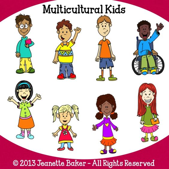 Multicultural Kids Clip Art by .