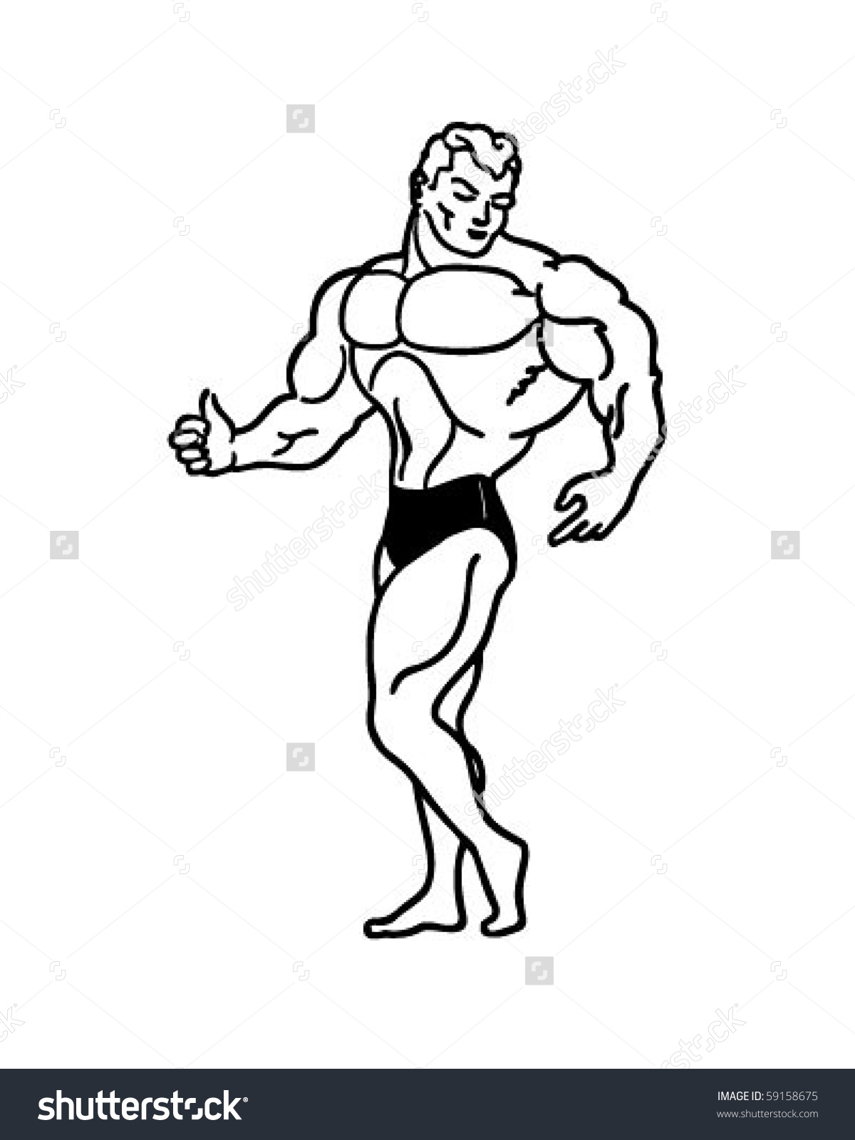Muscle Man - Retro Clip Art-Muscle Man - Retro Clip Art-13