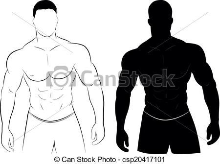 ... Muscle man silhouette - Vector illustration of muscle man.