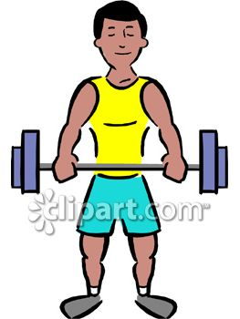 Muscular Man Lifting Weights Royalty Free Clip Art Illustration