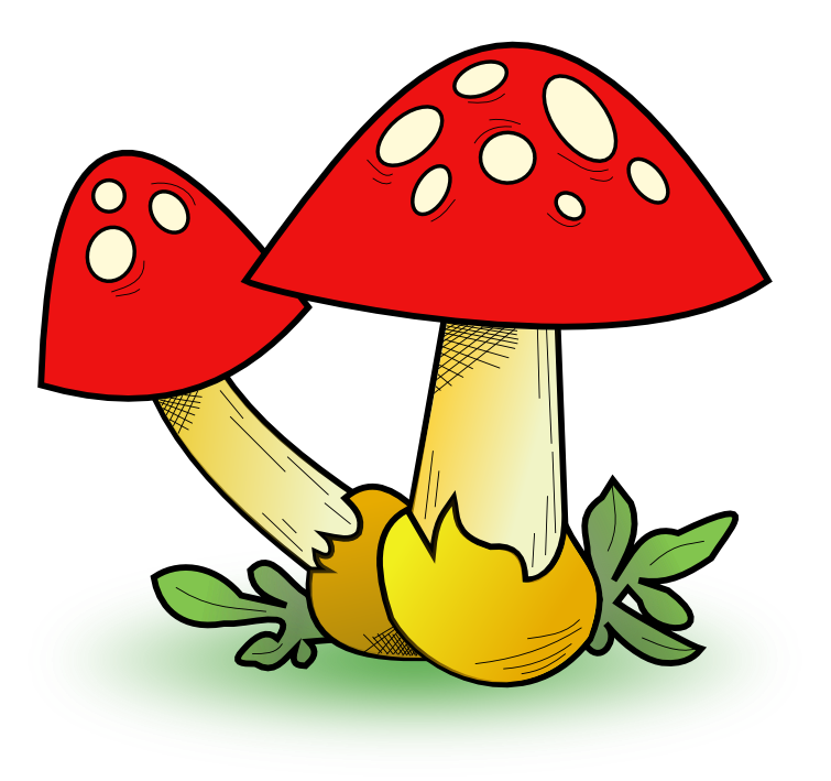 Free Two Cartoon Mushrooms Clip Art