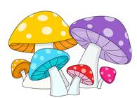 mushrooms yellow blue purple. Size: 61 Kb