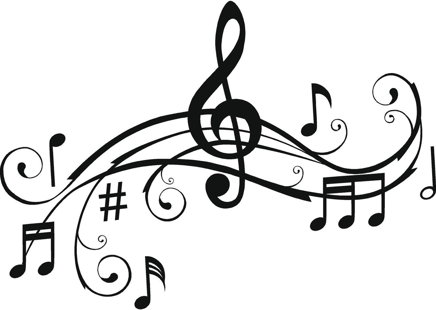 Music Notes Clipart Black And White-music notes clipart black and white-10