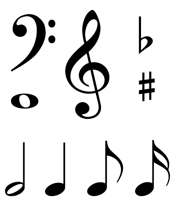 music notes heart clipart