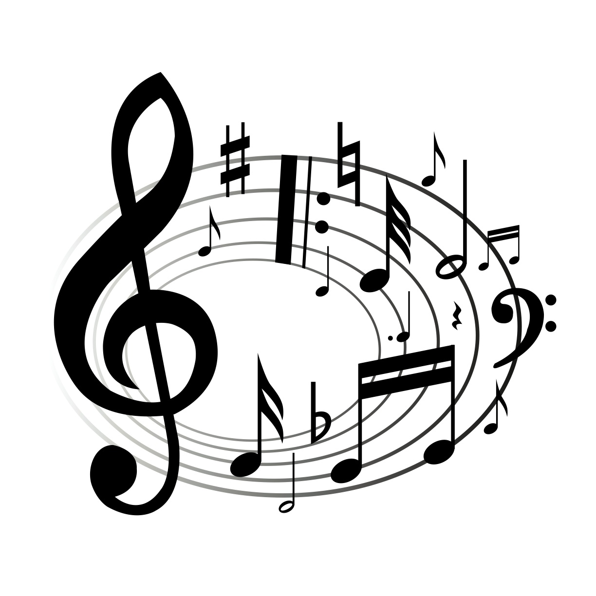 Music Notes Black And White .-Music Notes Black And White .-17