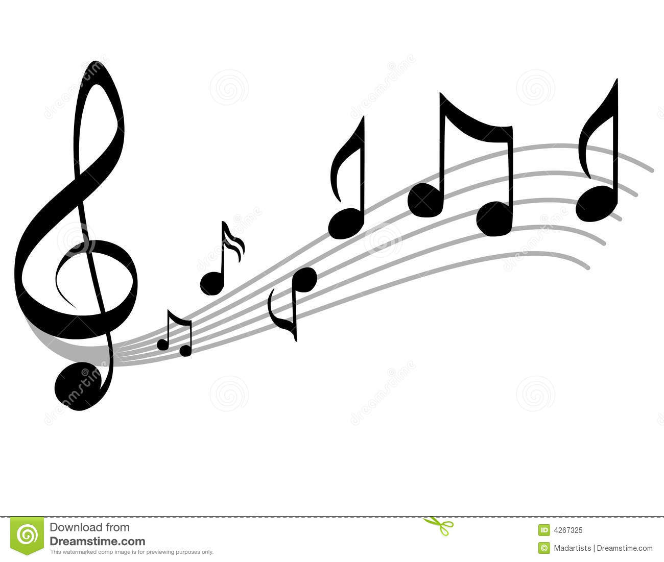Music Notes Clipart Black And White Music Notes Scale Treble Clef