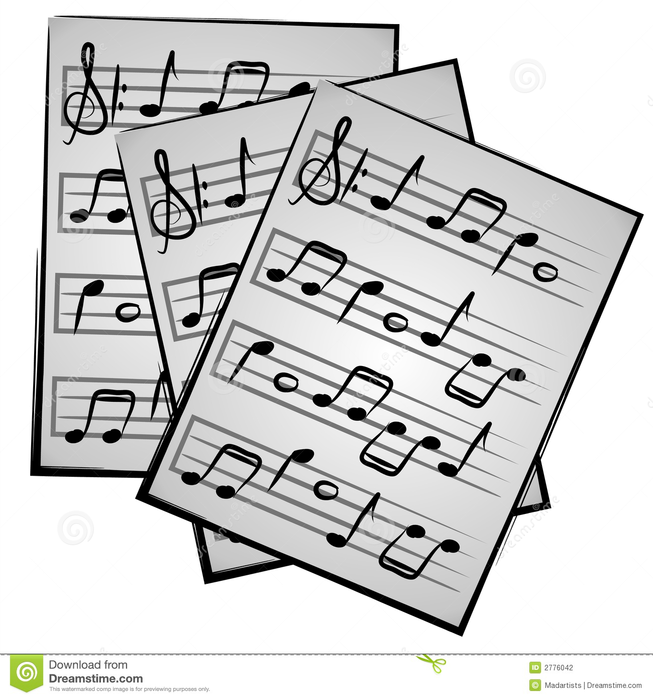 Music Notes on Paper Clipart - Sheet Music Clip Art