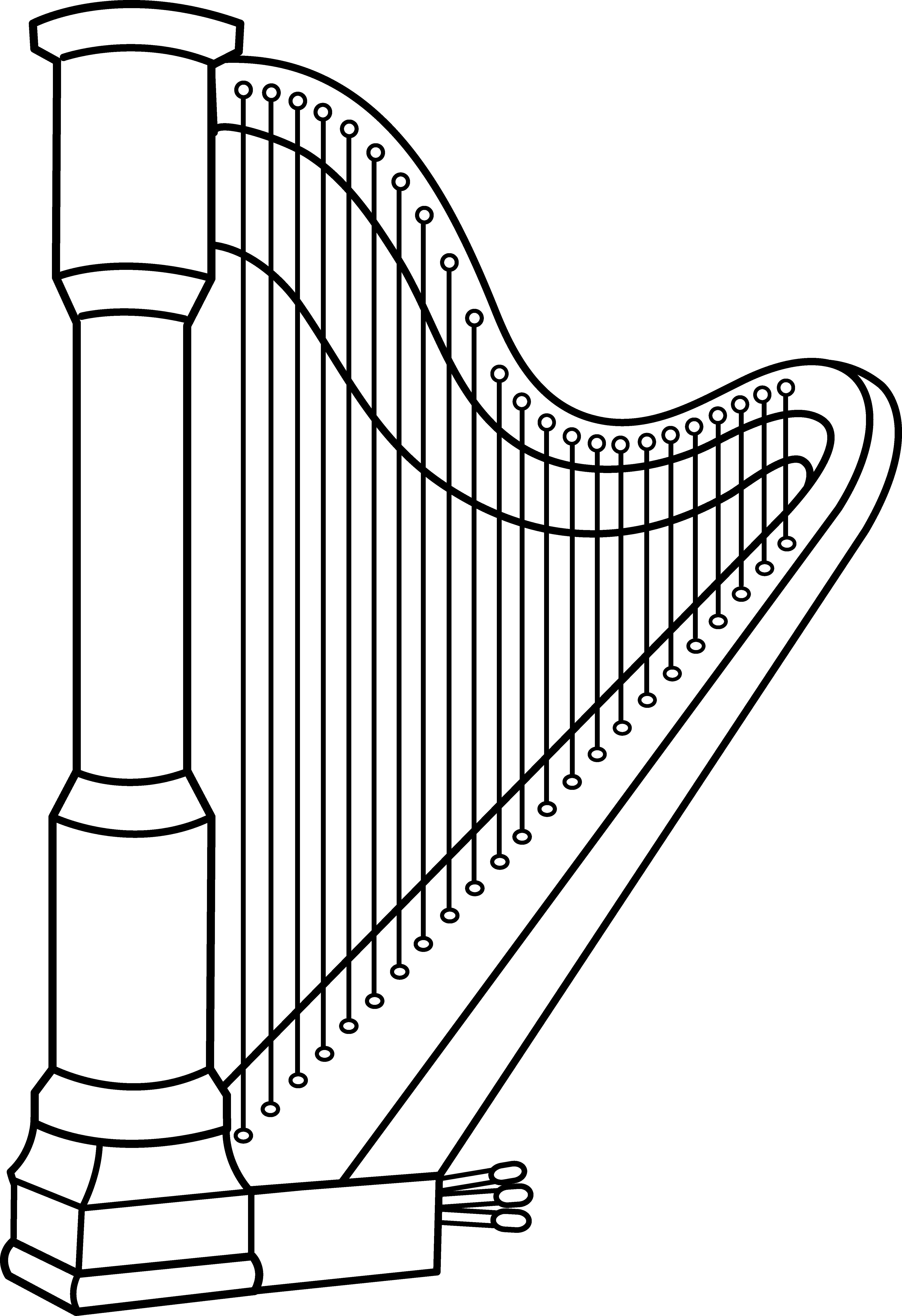 Musical Harp Line Art Free Clip Clipart-Musical harp line art free clip clipart-14