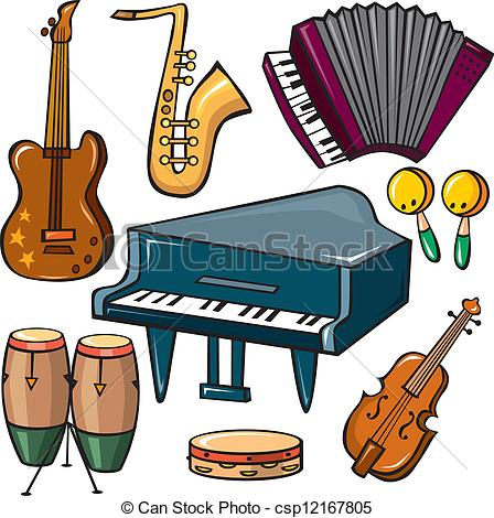Musical instruments icons set .