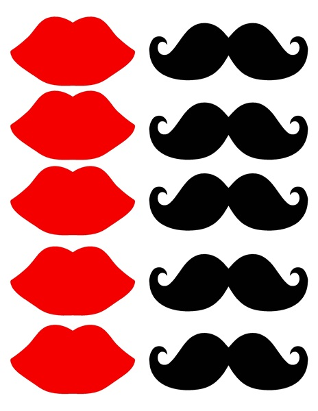 Mustache And Lips Printable C - Red Lips Clip Art