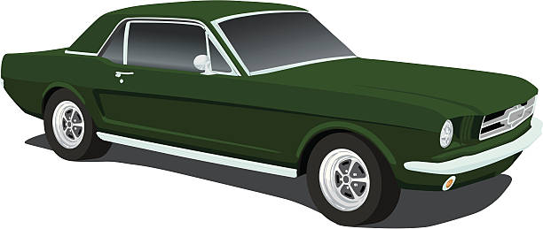 Vector Mustang from 1965 vector art illustration