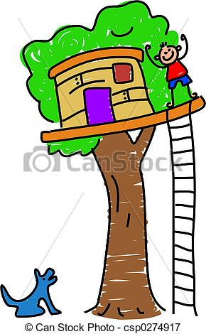 ... my tree house - little boy waving from his tree house ...
