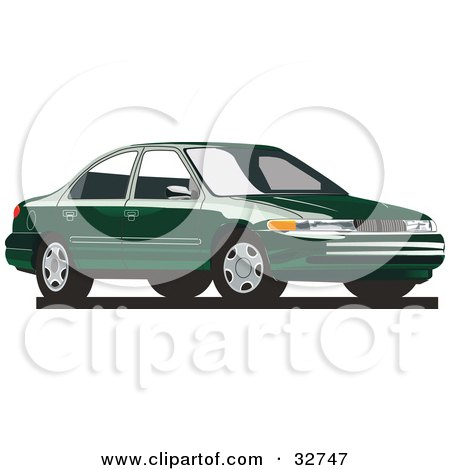 Clipart Illustration of a Green Mercury -Clipart Illustration of a Green Mercury Mystique Car by David Rey-17