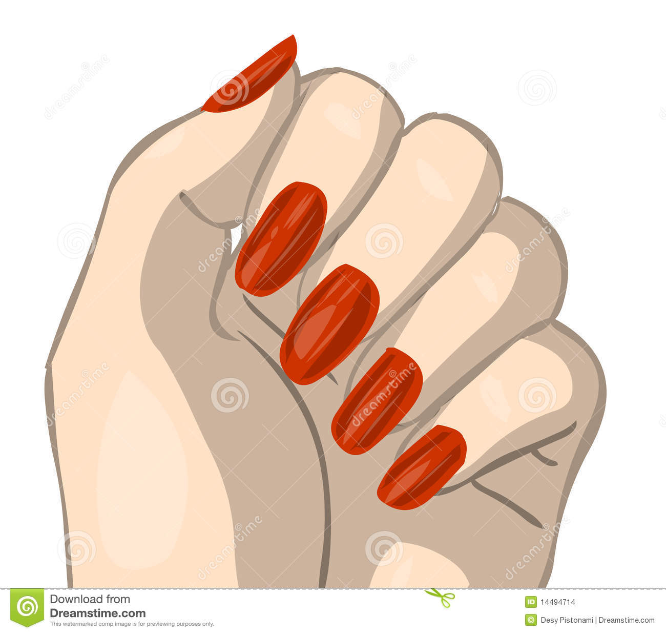 Nail Clip Art Hand With Red Nails Clipping