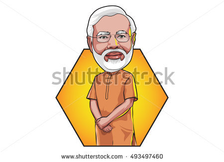 Oct 5, 2016 Caricature character illustration of Narendra Modi - Prime  Minister of India.