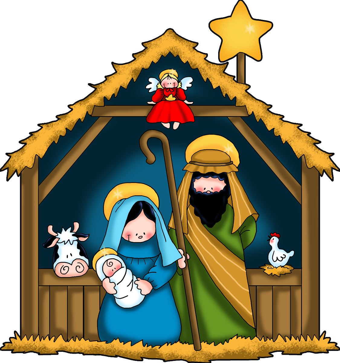 Nativity clip art black and white free free