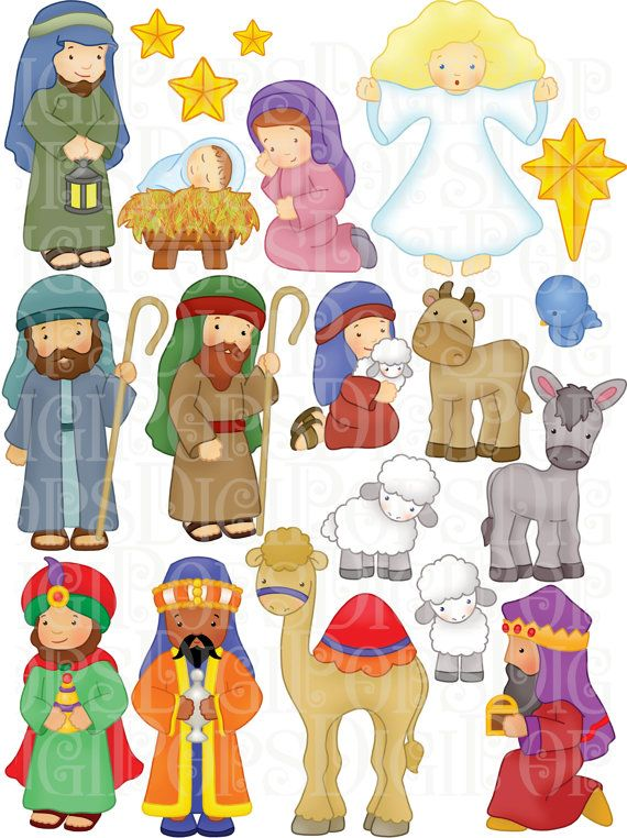 Nativity Digital Clip Art Set -Personal -Nativity Digital Clip Art Set -Personal and Commercial- Christmas, Baby Jesus, Mary-18