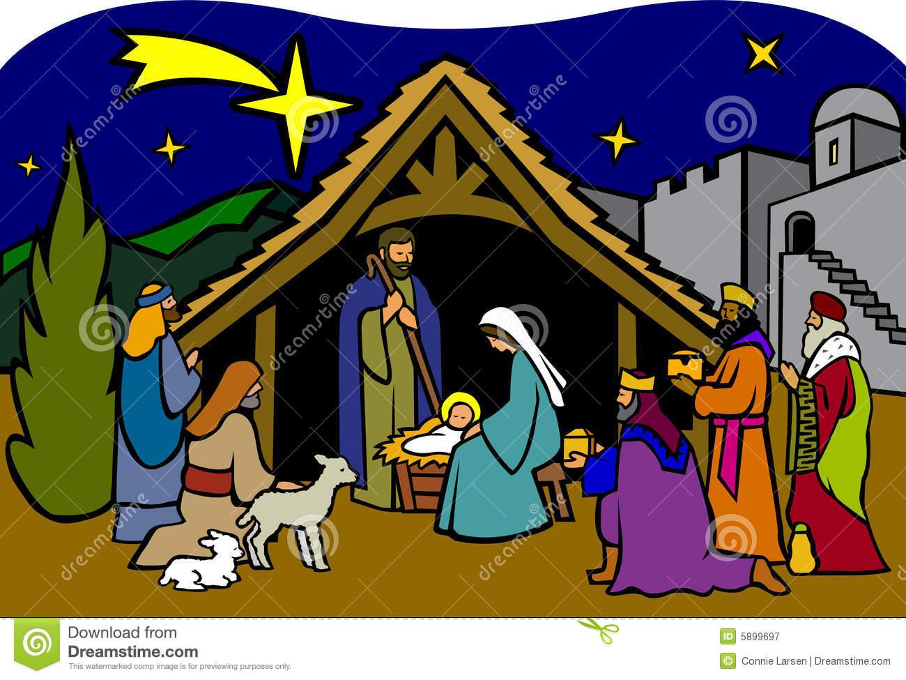 Nativity Scene Clip Art Christmas Nativityeps Royalty Free Stock
