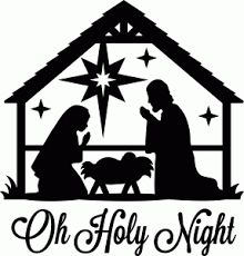 Nativity Scene u0026quot;Oh Holy Nightu0026quot; Black Vinyl Decal for Glass Block