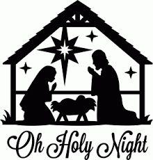 Nativity Scene u0026quot;Oh Holy Nightu0026quot; Black Vinyl Decal for Glass Block