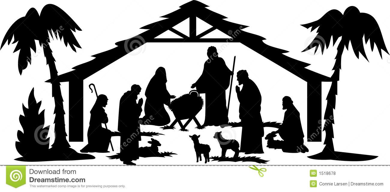Nativity Scene Silhouette Clip .