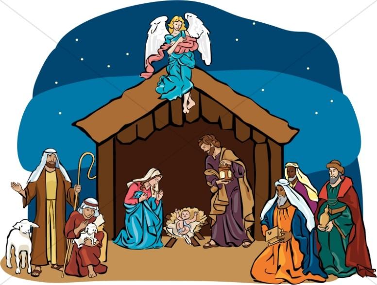 Nativity Scene with Angel Overhead