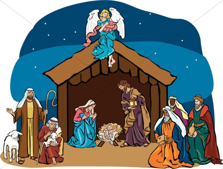 Nativity Scene with Angel Overhead