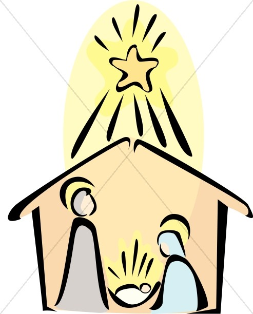 Nativity Scene with Radiant Star of Bethlehem