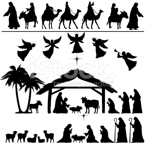 Nativity Silhouette Clip Art . .