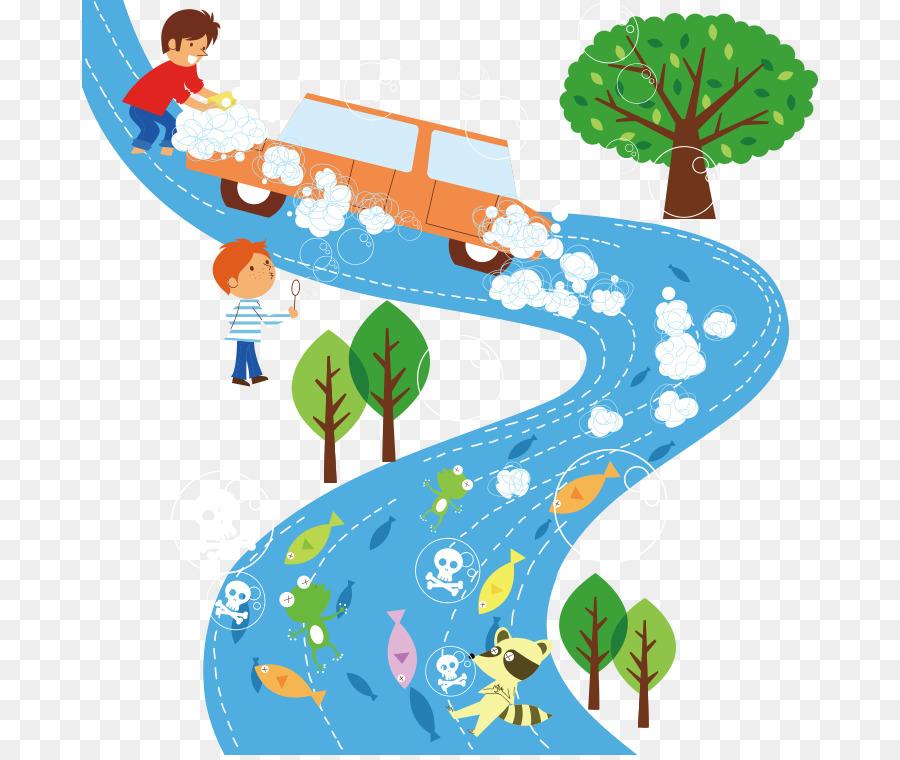 Air pollution Natural environment Clip art - Cartoon car wash field