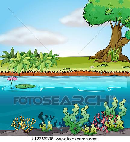 Clip Art - Land And Aquatic Environment.-Clip Art - Land and aquatic environment. Fotosearch - Search Clipart,  Illustration Posters,-3