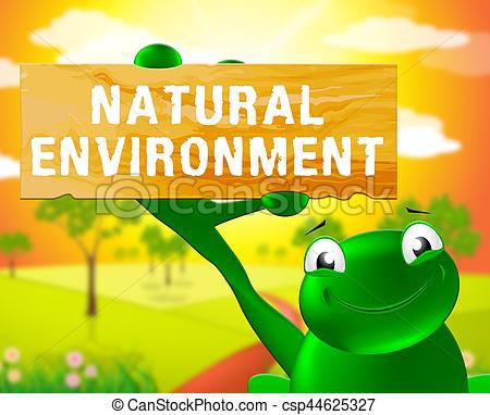Natural Environment Sign Shows Nature 3d Illustration