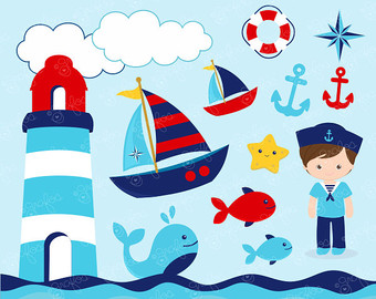 Nautical Boy Digital Clipart Nautical Clipart Navy Clipart Instant