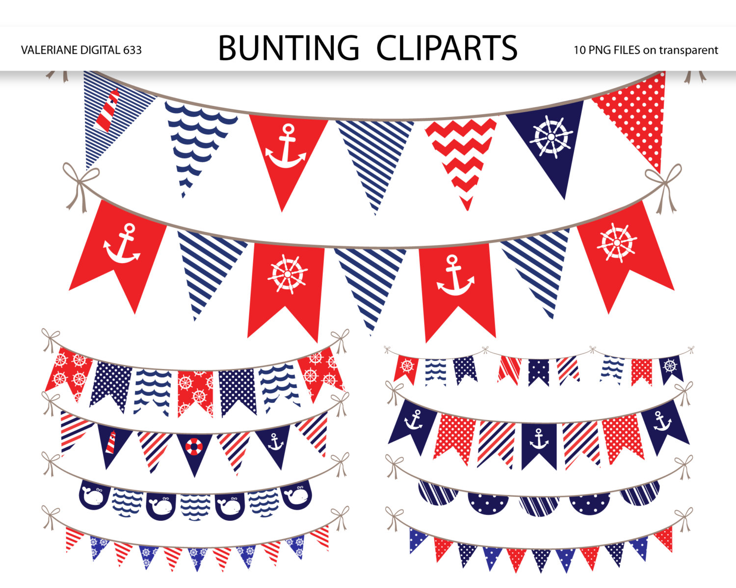 Nautical Bunting banner clipart, nautical clipart, bunting banners clip art pack for invitations, scrapbooking - INSTANT DOWNLOAD Pack 633