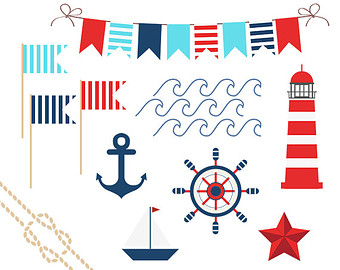 Nautical Clip Art, Summer Clip Art, Anchor, Boat, Starfish, Waves, Nautical Flags, Nautical Shapes, Ocean Clip Art, Instant Download