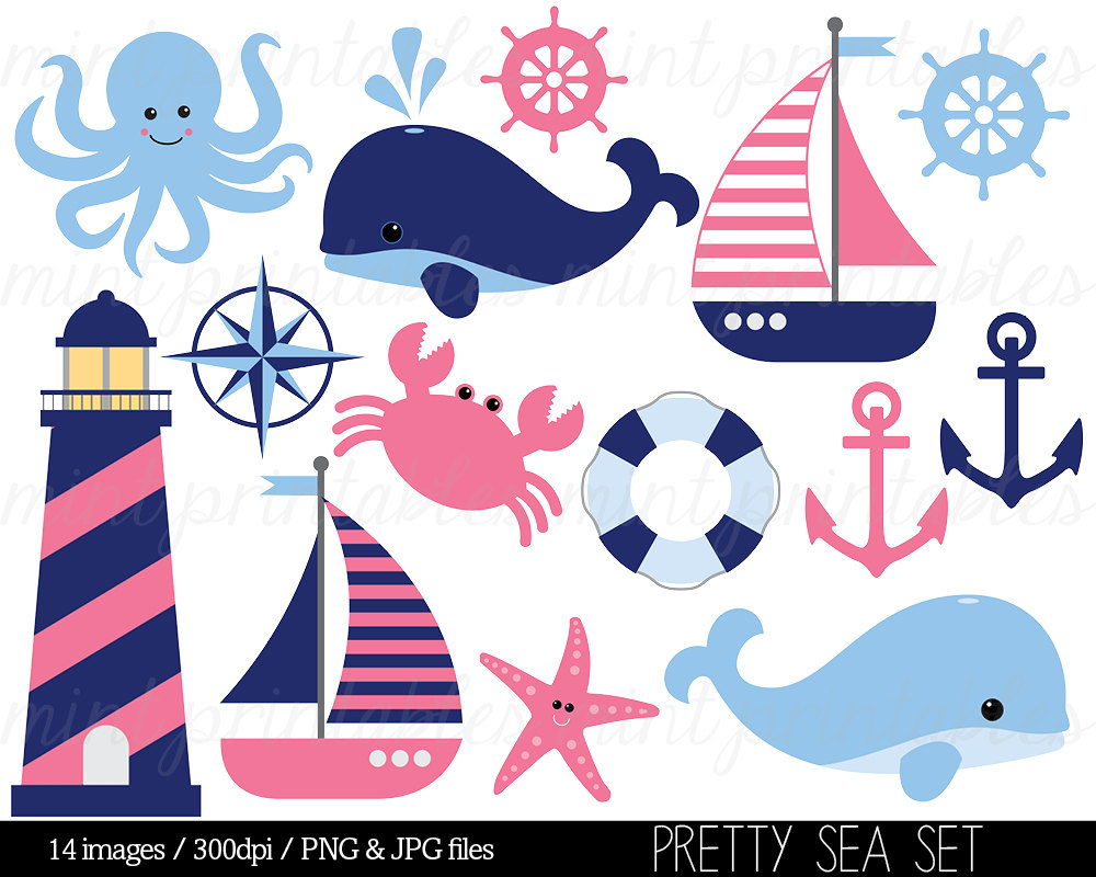 Nautical Clipart Clip Art Anchor Clipart Blue By Mintprintables
