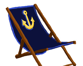 Navy Beach Chair with Anchor - with and -Navy Beach Chair with Anchor - with and without Sand - Original Art - 3 files, beach chair clip art, beach chair printable-15