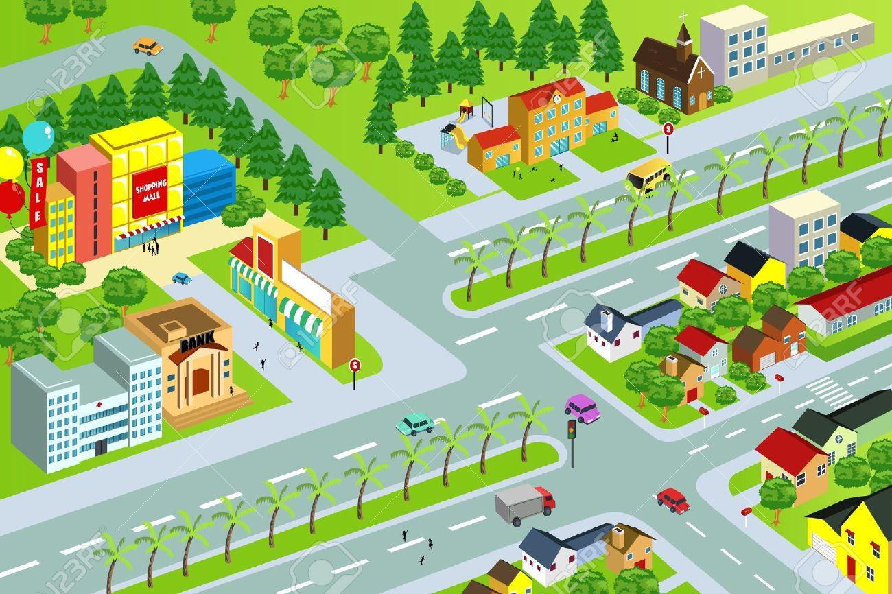 neighborhood clip art cartoon .