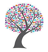 Social networking; Social technology and media tree filled with networking  icons