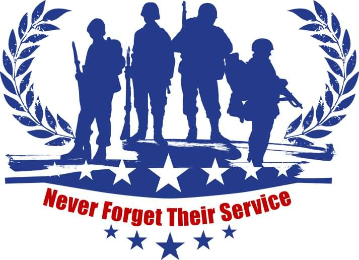 Never Forget Their Service Veterans Day Clipart