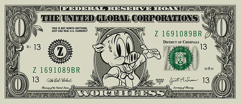 new art , zero dollar bill