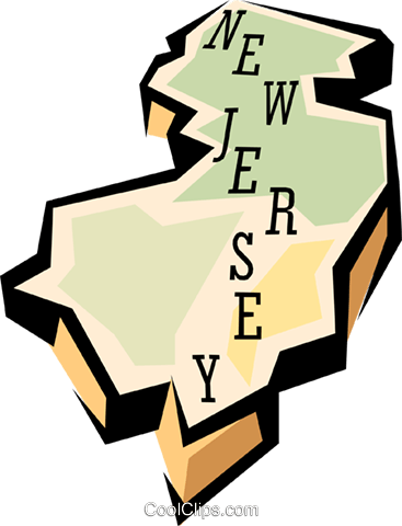New Jersey state map Royalty Free Vector Clip Art illustration