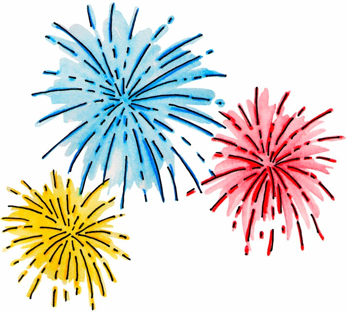 New year fireworks clip art .