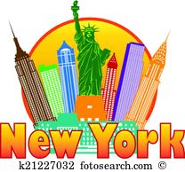 New York City Colorful Skyline In Circle-New York City Colorful Skyline in Circle Illustration-9