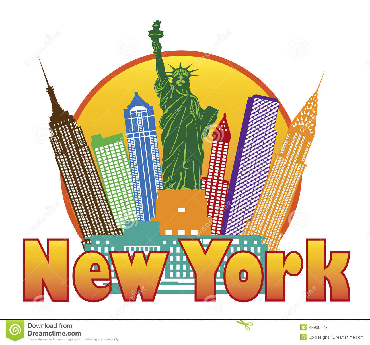 New York City Colorful Skyline With Stat-New York City Colorful Skyline With Statue Of Liberty In Circle-5