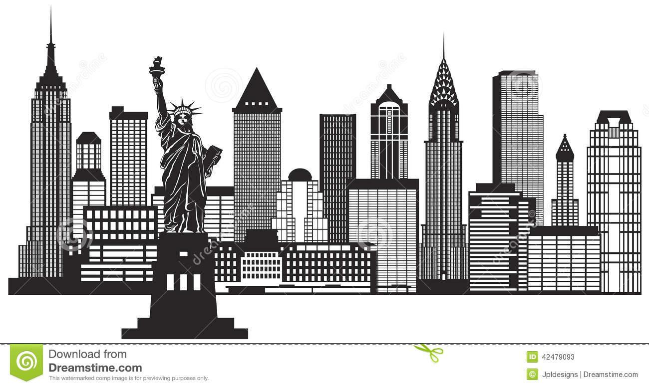 New York City Skyline Black .