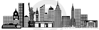 New York City Skyline Panorama Black and White Silhouette Clip Art Illustration.